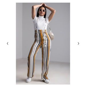 Striped Wide Leg Overall Jumpsuit
